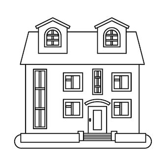 Casa in stile linea sottile su sfondo bianco. illustrazione vettoriale.