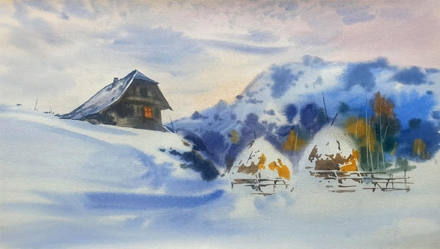 Camera nell'illustrazione incredibile del paesaggio dell'acquerello delle montagne superiori