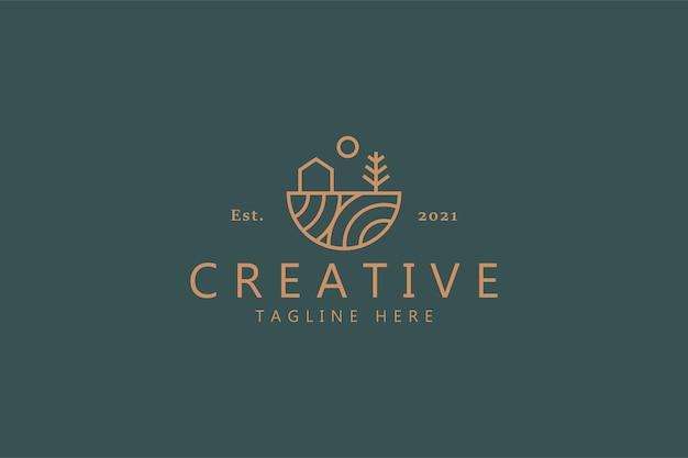 Casa albero e sole semplice logo