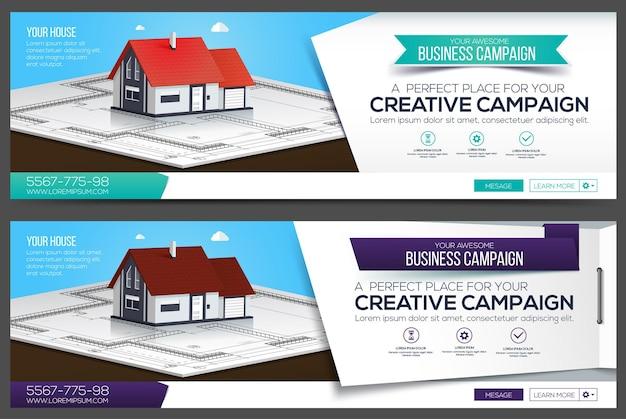 Banner web di casa, modello di layout di intestazione. copertina creativa. banner web.