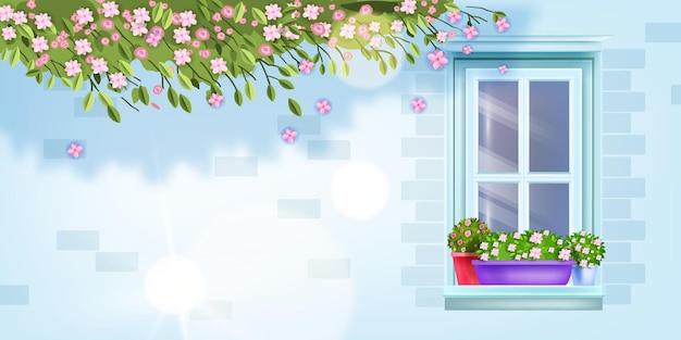 Finestra della casa, vista frontale del muro di mattoni, davanzale, vaso di fiori.