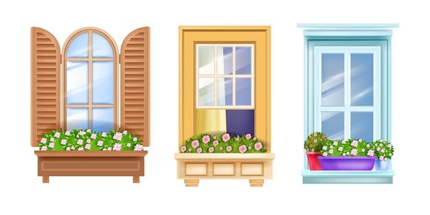 Set di infissi per finestre di casa isolato su bianco, vetro, persiane in legno, piante domestiche, rose fiorite