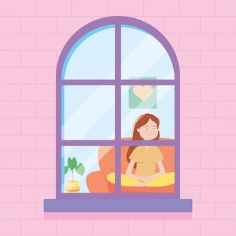 Finestra della casa che mostra una donna felice del fumetto che si siede sul divano