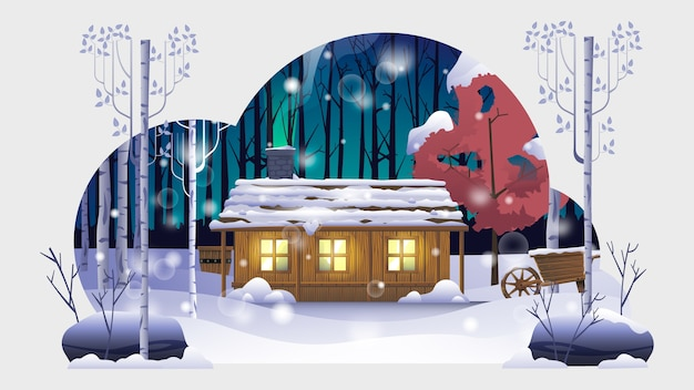 Una casa nell'illustrazione della foresta di inverno