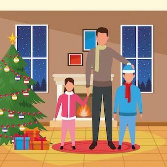 Casa con decorazioni natalizie e famiglia felice Vettore Premium