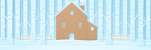 Casa con recinzione e alberi di pino sulla neve nel paesaggio invernale con neve che cade, stile di arte della carta