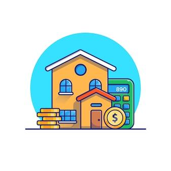 Camera con l'illustrazione dei soldi delle monete di oro. concetto di investimento immobiliare. edificio bianco isolato