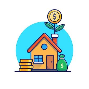 Camera con l'illustrazione della pianta di soldi delle monete di oro. concetto di investimento immobiliare. edificio bianco isolato