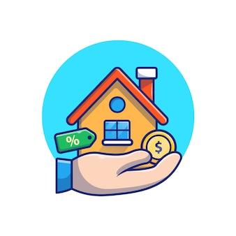 Casa con mano, moneta d'oro, illustrazione di denaro. concetto di investimento immobiliare. edificio bianco isolato