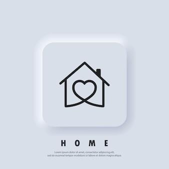 Casa con il cuore, simbolo della casa d'amore. ospedale. famiglia felice. vettore. icona dell'interfaccia utente. pulsante web dell'interfaccia utente bianco neumorphic ui ux. neumorfismo