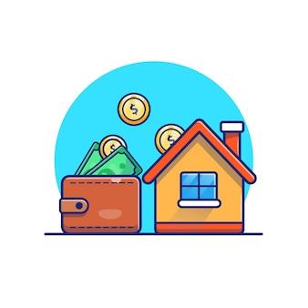 Camera con l'illustrazione della moneta di oro dei soldi del portafoglio. concetto di investimento immobiliare. edificio bianco isolato