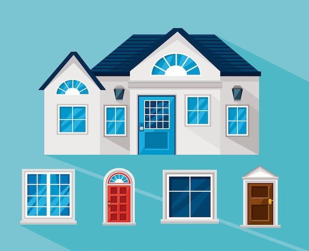 Casa con set di icone di finestre e porte
