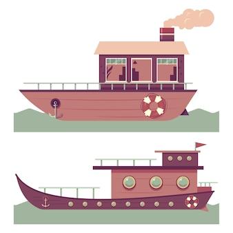 Insieme del fumetto della casa galleggiante isolato su sfondo bianco.