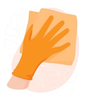 Prodotti chimici domestici nella pulizia delle superfici della mano dall'illustrazione delle macchie di pulizia della sporcizia