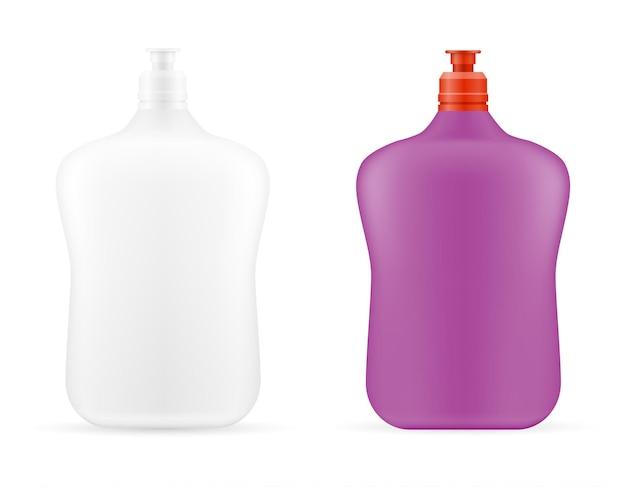 Prodotti per la pulizia della casa in un modello vuoto di bottiglia di plastica
