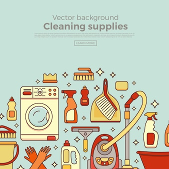 Banner di forniture per la pulizia della casa con elementi impostati in stile piatto contorno.