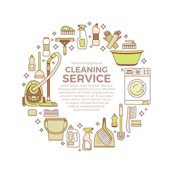 Modello di forniture per la pulizia della casa con elementi impostati in stile piatto contorno.