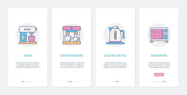 Ux di elettrodomestici da cucina per uso domestico, set di schermate della pagina dell'app mobile di onboarding dell'interfaccia utente