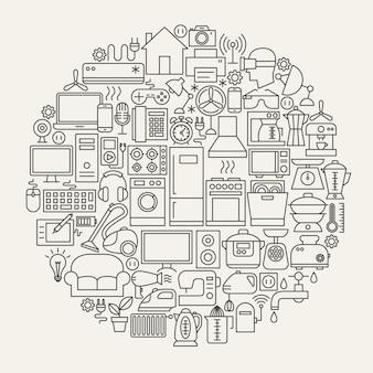 Cerchio di icone della linea domestica. illustrazione vettoriale di oggetti di contorno di elettrodomestici.