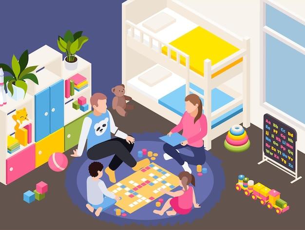 Composizione isometrica di isolamento della quarantena della famiglia con la famiglia che gioca con l'illustrazione dei bambini