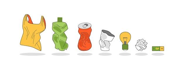 Rifiuti domestici, spazzatura. pacchetto sgualcito, latta, bottiglia, bicchiere di plastica, carta.