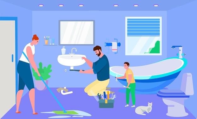 Il lavoro domestico con la famiglia, illustrazione vettoriale. il personaggio della donna pulisce il bagno di casa, padre e figlio che riparano insieme il lavandino.