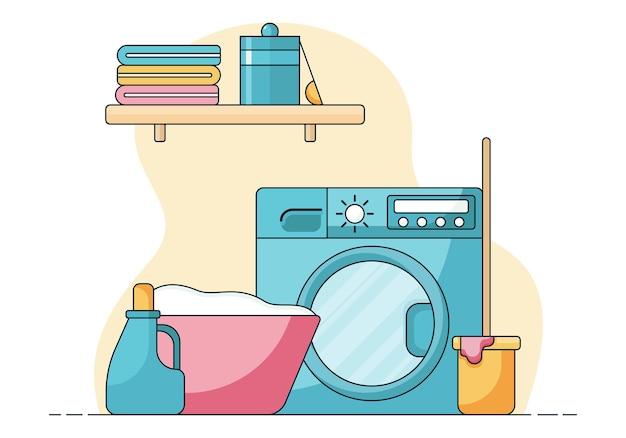 Cestino del concetto di pulizia con vestiti sporchi e sapone liquido davanti a una lavatrice