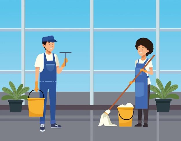 Lavoratori coppia di pulizie pulizia corridoio con caratteri di strumenti