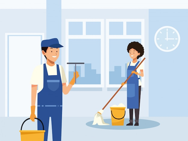 Operai di coppia di pulizie pulizia camera con caratteri di strumenti