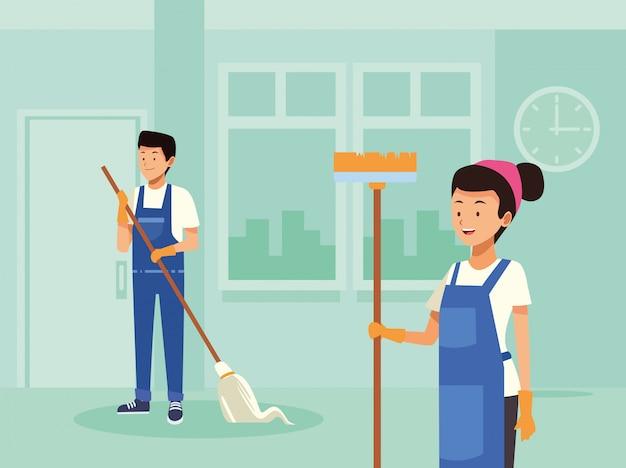 Lavoratori di coppia di pulizie con caratteri di strumenti
