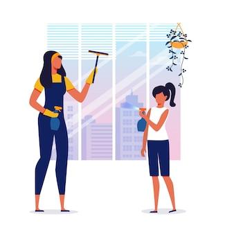 Servizio di pulizie, illustrazione di pulizia della casa