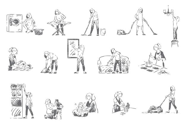 Le pulizie, le faccende domestiche concetto schizzo illustrazione
