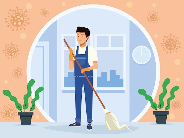 Operaio di sesso maschile di pulizie con personaggio avatar mop