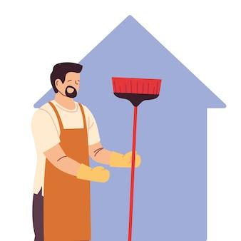 Uomo delle pulizie facendo lavori di pulizia della casa