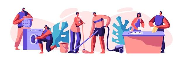 Pulizie e routine. scrubwoman e uomo che puliscono vestiti sporchi, pavimento. faccende domestiche, lavorando con la macchina elettronica. pulizia tecnologica. illustrazione di vettore del fumetto piatto