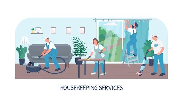 Modello piatto banner servizi di pulizia. brochure aziendale di pulizia, concept design di una pagina opuscolo con personaggi dei cartoni animati. servizio di squadra di portieri, volantino per la manutenzione della casa, opuscolo