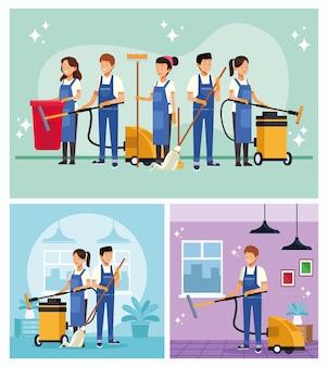 Lavoratori del team di pulizie con scene di strumenti di attrezzatura