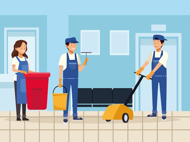 Lavoratori del team di pulizie con strumenti