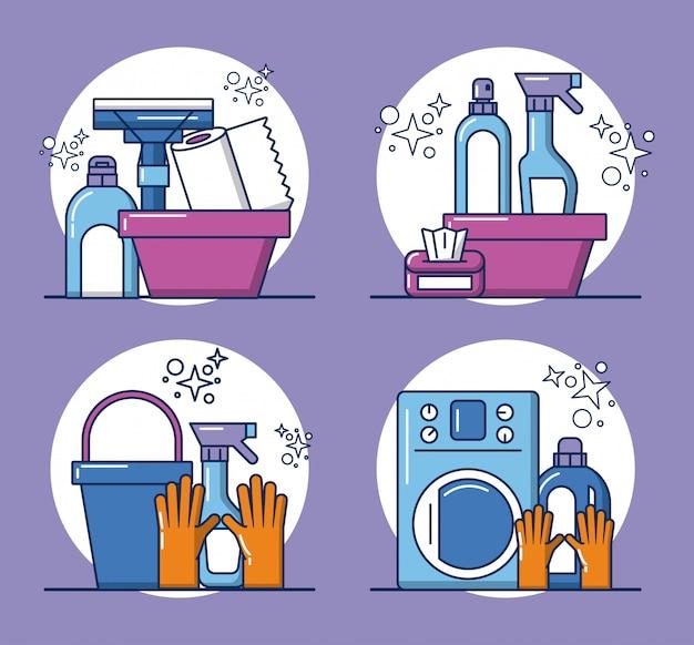 Strumenti di pulizia e icone dei prodotti