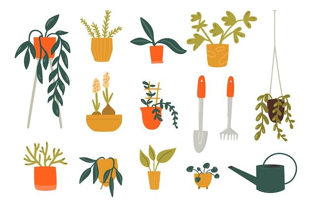 Piante d'appartamento in vaso, diverse piante verdi e strumenti per la cura. collezione giungla urbana. insieme dell'illustrazione di doodle piatto vettoriale.