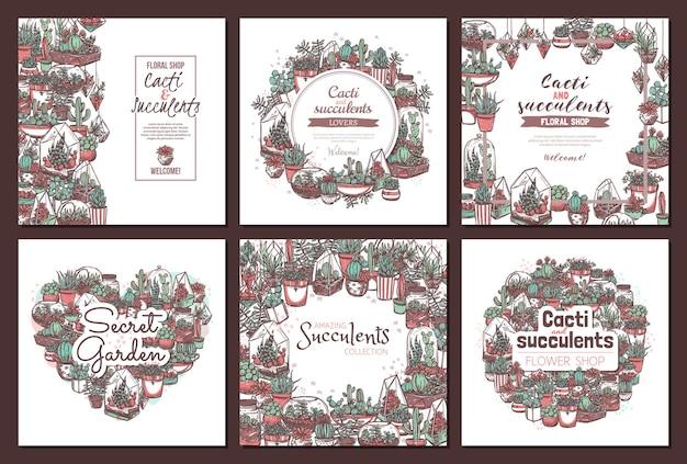 Set di modelli disegnati a mano di banner di social media negozio di piante d'appartamento