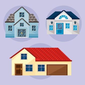 Collezione di icone di case con finestre