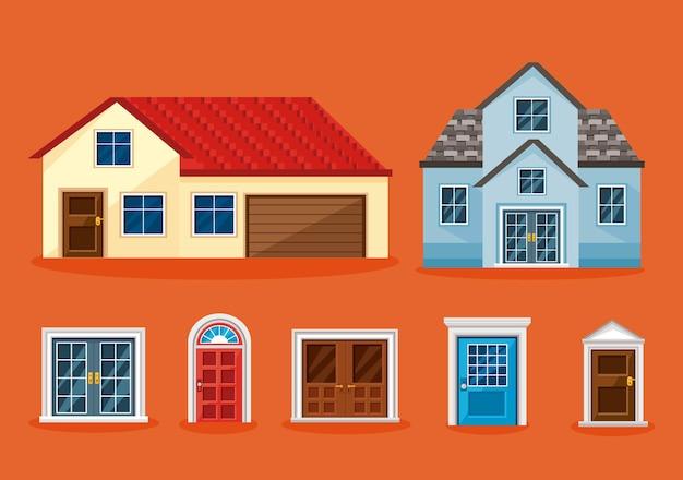 Set di icone di case con finestre su sfondo arancione