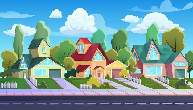 Case sulla strada della città di periferia, paesaggio di cottage familiari dei cartoni animati