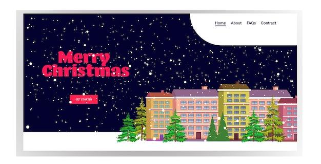 Case nella stagione invernale notte nevosa strada cittadina buon natale felice anno nuovo vacanze celebrazione concetto paesaggio urbano nevicata landing page