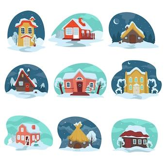 Case con tetti innevati, edifici isolati nel paesaggio invernale rurale. cottage e residence, accoglienti chalet in paese o in campagna. scenario di appartamenti e nevicate, vettore in stile piatto