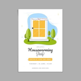 Disegno di carta dell'invito del partito di inaugurazione della casa.