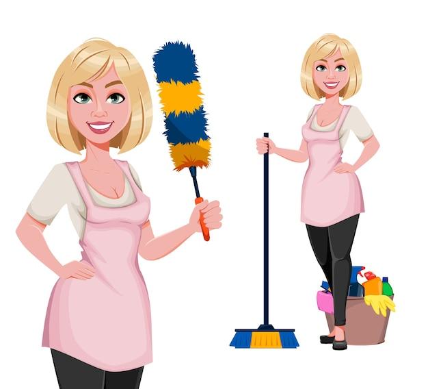 Concetto di casalinga, giovane donna graziosa