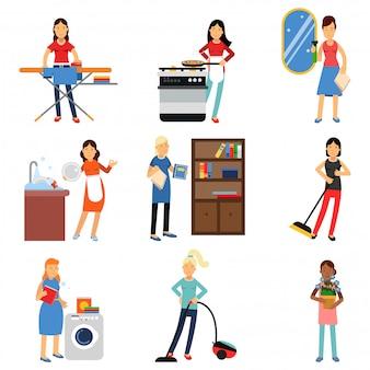 Casalinga nel set di attività domestiche, pulizia della casa e pulizie