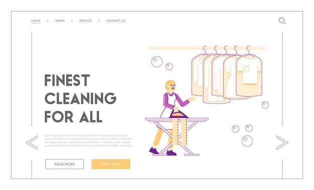 Casalinga o cameriera nel modello di pagina di destinazione della lavanderia a gettoni